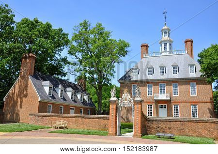 Governors Palace of British Colony in Williamsburg Historic District on May 7th, 2012 in Williamsburg, Virginia, USA.