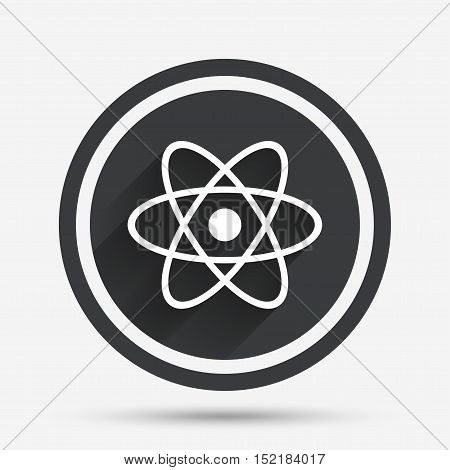 Atom sign icon. Atom part symbol. Circle flat button with shadow and border. Vector