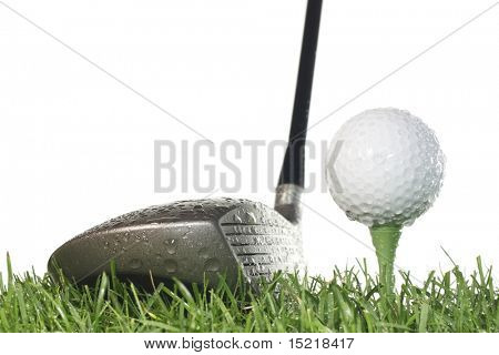 Driver with golf ball on a tee and grass on a white background in damp conditions.