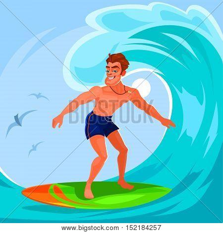 Vector illustration of a surfer riding a big wave