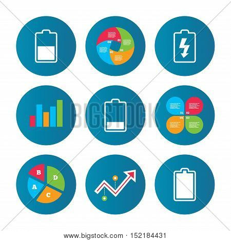 Business pie chart. Growth curve. Presentation buttons. Battery charging icons. Electricity signs symbols. Charge levels: full, half and low. Data analysis. Vector