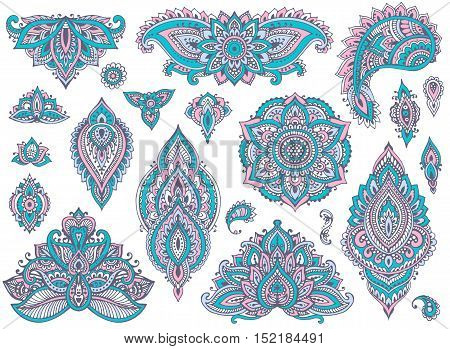Big vector set of colorful henna floral elements and frames based on traditional Asian ornaments. Paisley Mehndi Tattoo Doodles collection. Blue and pink cool soft colors