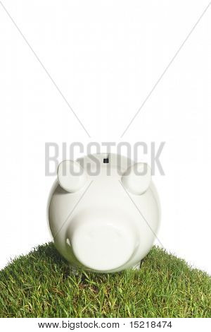 Piggy bank on a grass mound with a white background.