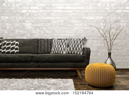 Modern interior of living room with black sofa rug and knitted pouf over white brick wall 3d rendering