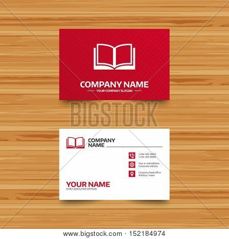 Business card template. Book sign icon. Open book symbol. Phone, globe and pointer icons. Visiting card design. Vector