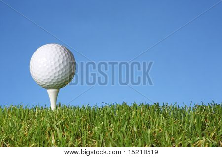 Golf ball on a tee with grass and blue background.