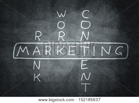 Studying concept of marketing with crossword drawn on blackboard