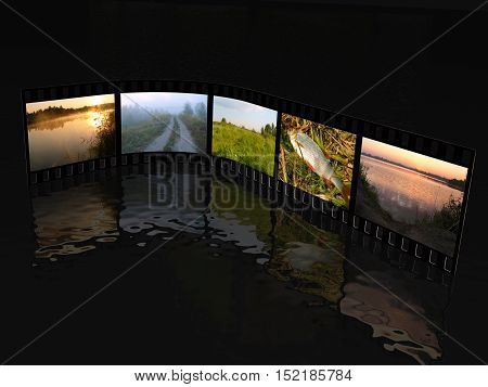 Film roll with color pictures (nature) on black background 3D illustration. All pictures are my own photos.