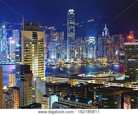 Hong kong downtown area at night