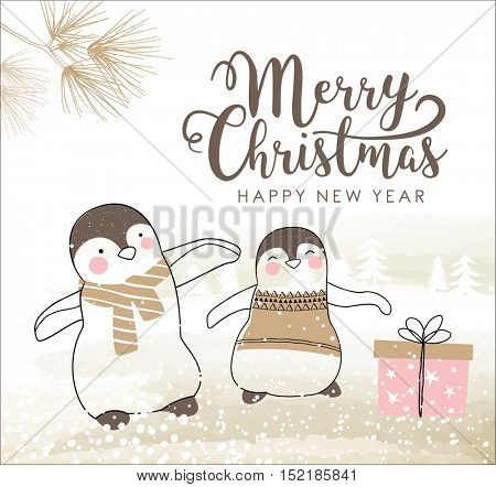Hand drawn Christmas card with cute little penguins