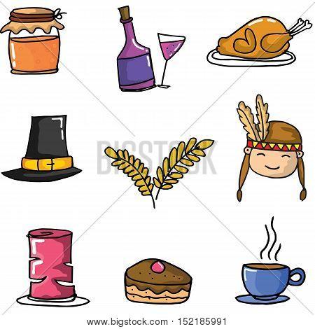 Doodle of thanksgiving set object vector illustration