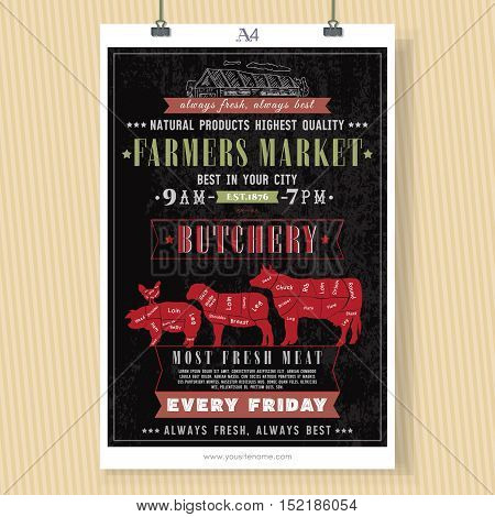 Butcher shop vintage signboard template. Fresh meat beef pork lamb. Butchery retro poster chalkboard style hand drawn vector