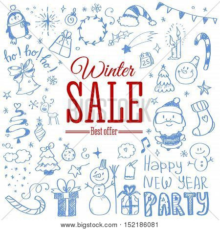 Vector illustration of Winter sale poster with Christmas doodles. Badge. Doodle megaset.