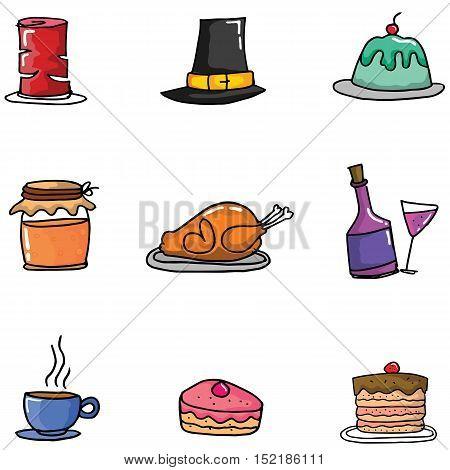 Doodle of thanksgiving set element vector illustration