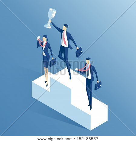 Business people stand on the podium with the cup and medals isometric businessman with the cup in his hands jumping off the pedestal business concept winner and success