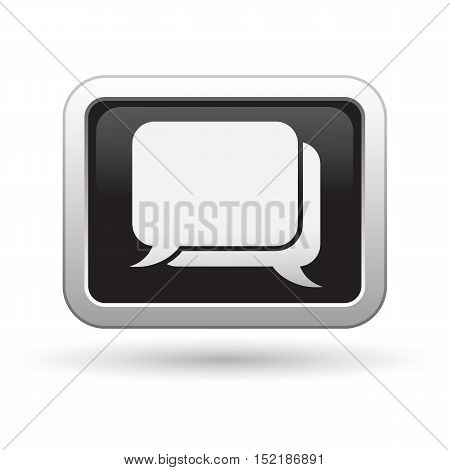 Speech bubbles icon on the button. Vector illustration