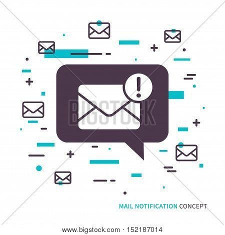 Linear mobile mail notification. Flat web mail notice. Mail message speech cloud symbol. Creative concept phone mail graphic design banner. Mail inbox app icon. Vector mail notice sign illustration.