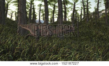 3d illustration of the running majungasaurus