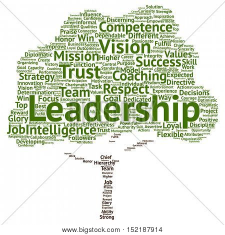 Concept or conceptual business leadership or management tree word cloud isolated on background