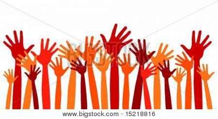 Vetor de muitas mãos felizes.