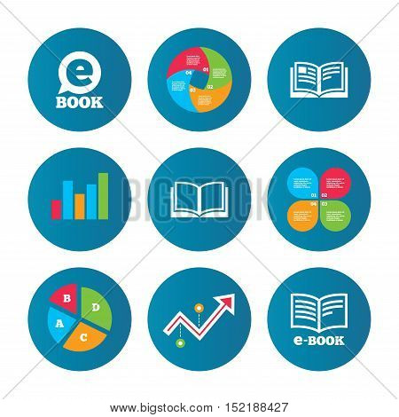 Business pie chart. Growth curve. Presentation buttons. Electronic book icons. E-Book symbols. Speech bubble sign. Data analysis. Vector