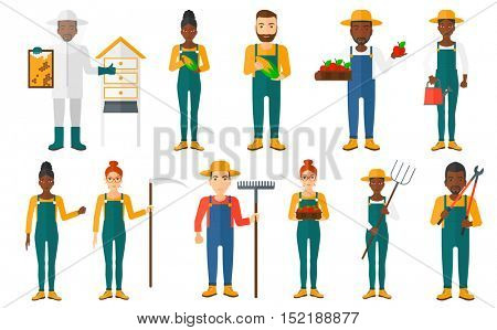 Set of farmers using agricultural tools. Farmer with rake, pitchfork, pruner, scythe. Beekeeper working at apiary. Farmer harvesting fruit, vegetable. Vector illustration isolated on white background.