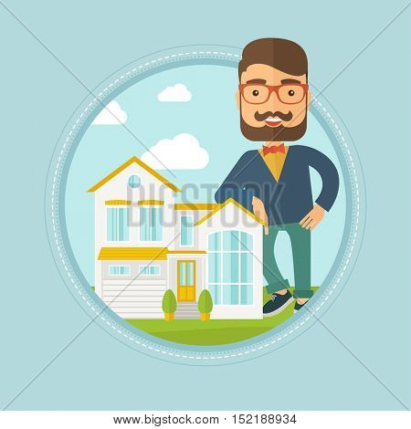 Hipster real estate agent standing near the house. Real estate agent leaning on the house. Real estate agent offering house. Vector flat design illustration in the circle isolated on background.