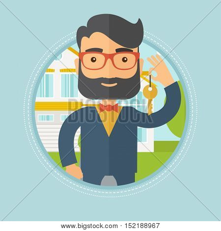 Caucasian hipster male real estate agent holding key. Man with keys standing in front of the house. Happy new owner of a house. Vector flat design illustration in the circle isolated on background.