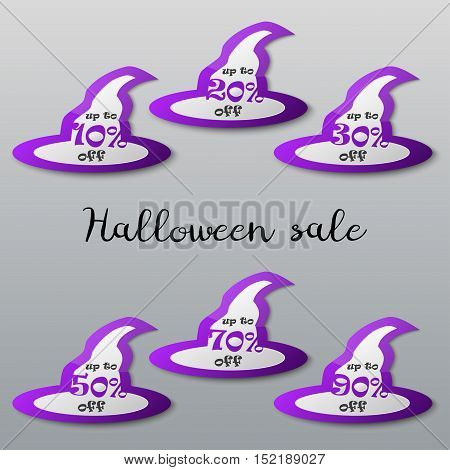 Halloween sale tags set. Halloween witch hat