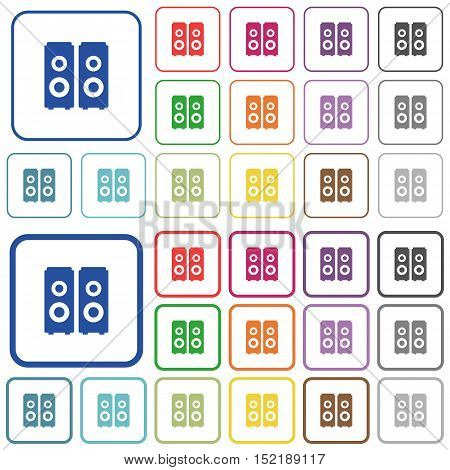 Set of speakers flat rounded square framed color icons on white background. Thin and thick versions included.
