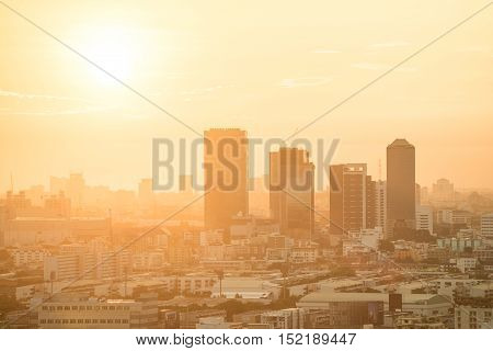 Aerial view of urban city skyline at sunrise beautiful building layers in downtown of Bangkok cityscape background or backdrop in vintage warm tone and modern retro style