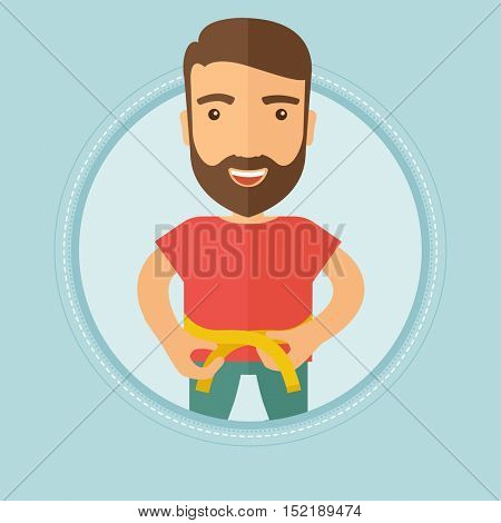 Caucasian hipster young man measuring his waistline with tape. Man measuring with tape the abdomen. Man with centimeter on waist. Vector flat design illustration in the circle isolated on background.