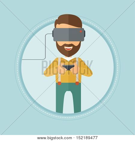 Caucasian hipster man with beard wearing a virtual reality headset. Young man playing video game with game controller in hands. Vector flat design illustration in the circle isolated on background.