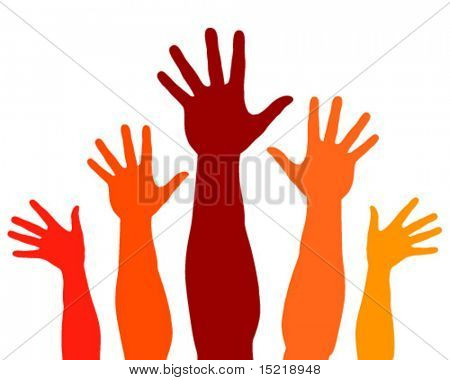 Realistic happy hands vector.