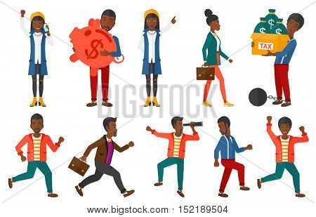 Set of successful business people. Businessmen moving to success. Business success, business vision, business investment concept. Vector flat design illustration in the circle isolated on background.