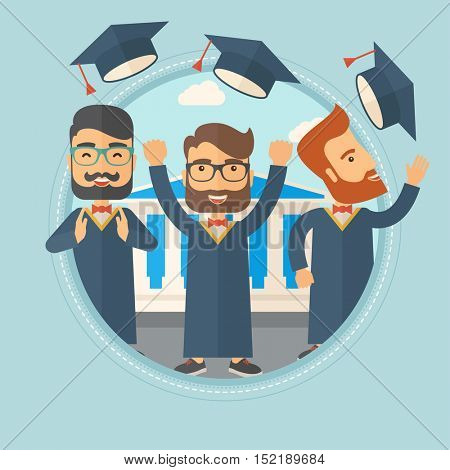 Happy caucasian graduates throwing up hats on background of academy building. Graduates in cloak and graduation hat celebrating. Vector flat design illustration in the circle isolated on background.