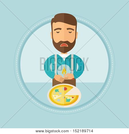 Caucasian hipster man with the beard suffering from heartburn. Upset young man suffering from heartburn caused by pizza. Vector flat design illustration in the circle isolated on background.