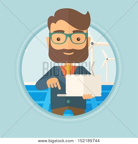 Hipster worker of solar power plant and wind farm. Man working on laptop on the background of solar panels and wind turbines. Vector flat design illustration in the circle isolated on background.