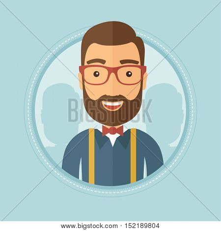 Widely smiling happy hipster businessman with beard standing with some shadows of his coworkers behind. Business teamwork concept. Vector flat design illustration in the circle isolated on background.