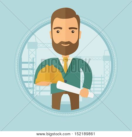 An engineer with a blueprint at construction site. Man holding a twisted blueprint and hard hat. Man checking construction works. Vector flat design illustration in the circle isolated on background.