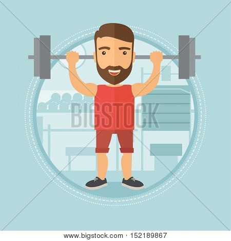 Caucasian hipster man lifting a heavy weight barbell. Sportsman doing exercise with barbell. Male weightlifter holding a barbell. Vector flat design illustration in the circle isolated on background.