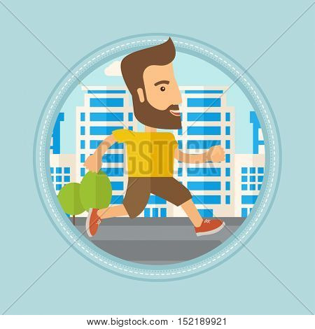 Caucasian hipster man with beard running. Young male runner jogging. Sportsman jogging on a city street. Lifestyle, sport concept. Vector flat design illustration in the circle isolated on background.