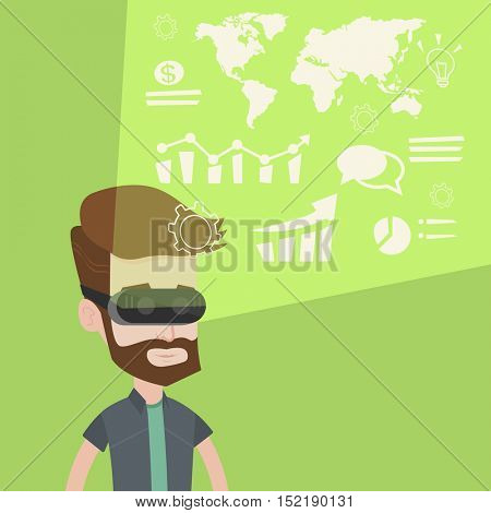 Young caucasian hipster businessman wearing virtual reality headset, looking at the digital display with business graphs and analyzing virtual data. Vector flat design illustration. Square layout.