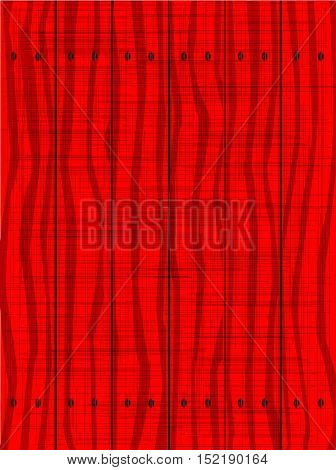 A red fence made of wooden planks showing the wood grain and grunge effect..