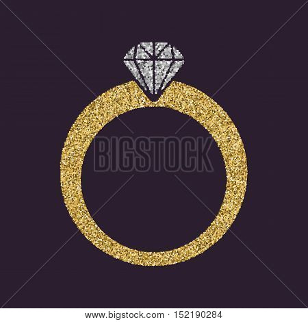 The ring icon. Diamond and jewelry, wedding symbol. Gold sparkles and glitter Vector illustration