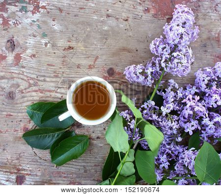 Tea Cup and branch of lilac on wooden background, top view. The tea party outdoors