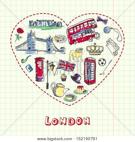 Love London. Dotted heart filled with colored doodles associated with english capital drawn on squared paper vector illustration. Memories about Europe journey. Sketched with pen British related icons