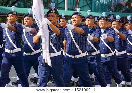 Kota Kinabalu,Sabah-Aug 31,2016:Malaysia National Day parades through the streets of Kota Kinabalu,Sabah celebrating the Independence Day at Kota Kinabalu,Sabah,Borneo,Malaysia on 31st Aug 2016.
