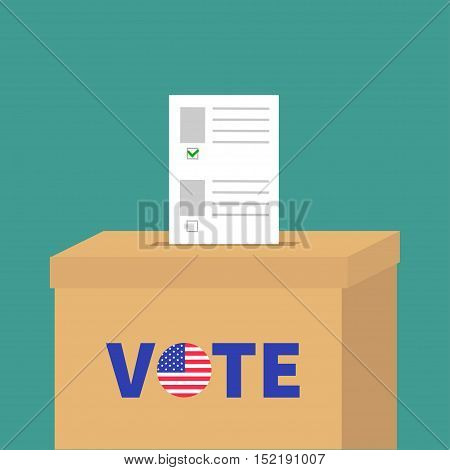 Ballot Voting box with paper blank bulletin Choice concept. Polling station. President election day Vote text round badge button. Green background Flat design Card. Vector illustration