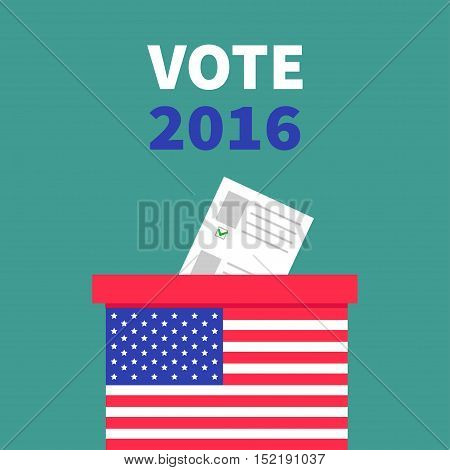 American flag Ballot Voting box with paper blank bulletin concept. Polling station. President election day Vote 2016. Green background Flat design Card Vector illustration